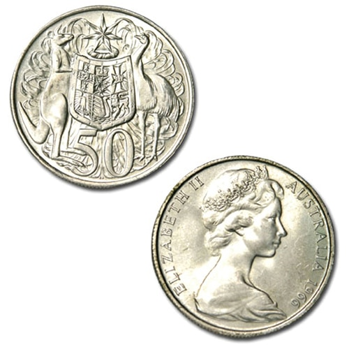 obverse and reverse of Australia 1966 round 50c silver coin 80% silver