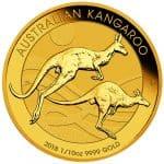 Australian Kangaroo Gold 1/10oz 9999 Bullion coin Straight on Imperial Bullion 10 2018