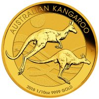 Australian Kangaroo Gold 1/10oz 9999 Bullion coin Straight on Imperial Bullion 10 2018