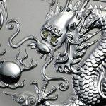 Dragon with Diamond Eyes on 1kg silver bullion by Imperial Bullion 2000 Australia