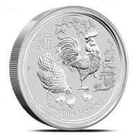 reverse of 2017 silver 10kg lunar year of the rooster bullion coin